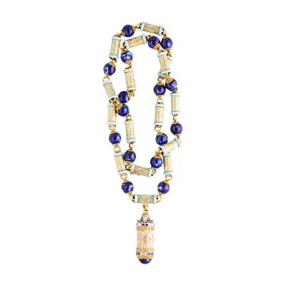 Cazzaniga Cazzaniga Lapis Enamel Gold and Diamond Large Necklace