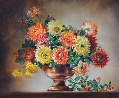 Cecil Kennedy Chrysanthemums Floral Still Life Oil Painting