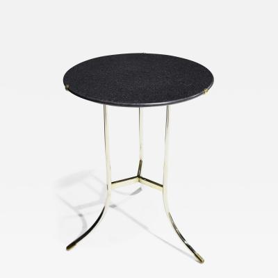 Cedric Hartman Cedric Hartman Polished Steel and Brass Side Table with Black Granite Top