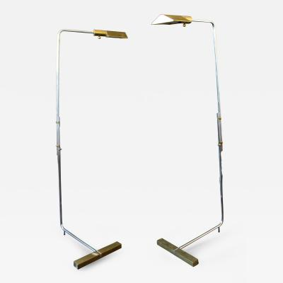 Cedric Hartman Mid Century Modern Pair of Early Rare Cedric Hartman Chrome Brass Floor Lamps