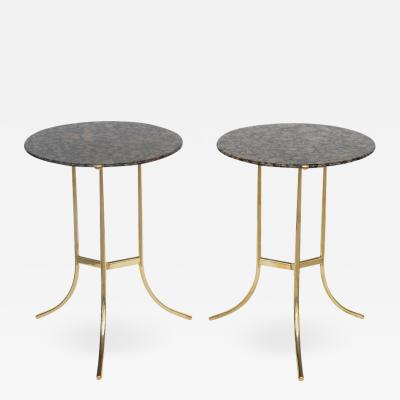 Cedric Hartman Pair of Bronze and Baltic Brown Tops Tables by Cedric Hartman