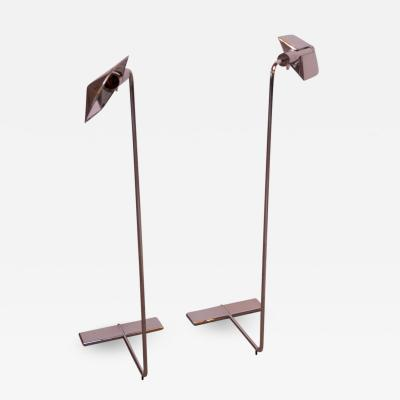Cedric Hartman Pair of Chrome Adjustable Floor Lamps by Cedric Hartman