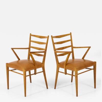Cees Braakman Pair of Cees Braakman Oak and Leather Open Armchairs circa 1950s