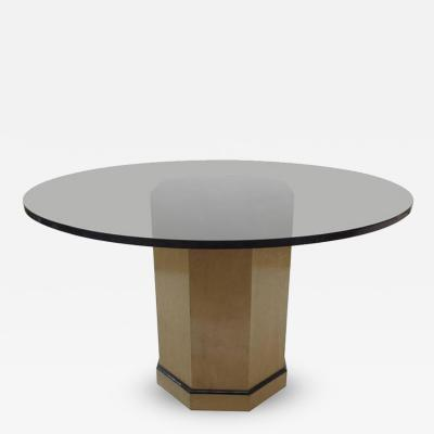 Centre Pedestal Dining Table in Maple with Amber Glass Top