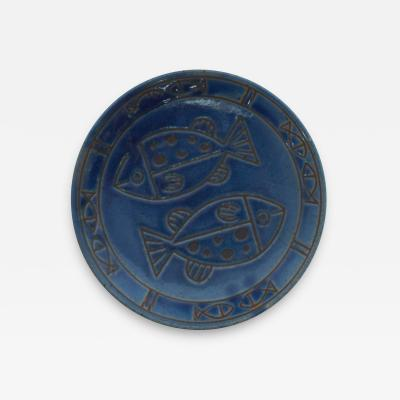Ceramic Art Cobalt Blue Christian Fish Plate Pisces Decorative Display Dish