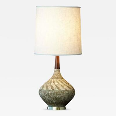 Ceramic Gourd Lamp with Teak Neck and Brass Base