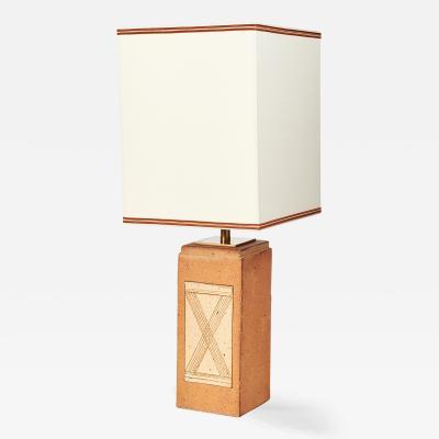 Ceramic Lamp with Geometric Decor France 1970s