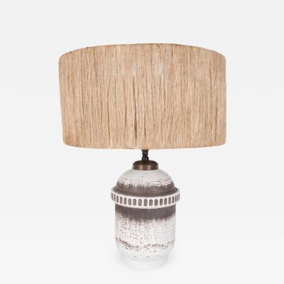 Ceramic lamp with twine shade by Keramos