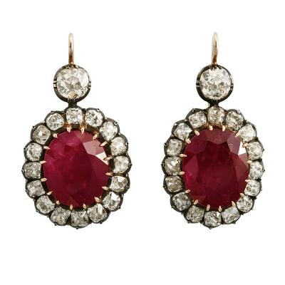 Certified Burma Ruby Diamond Cluster Ear Pendants
