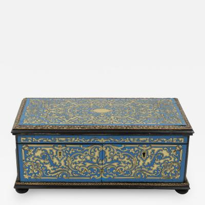 Cerulean Blue Enamel Boullework Box With Brass Inlay French Circa 1850 1860