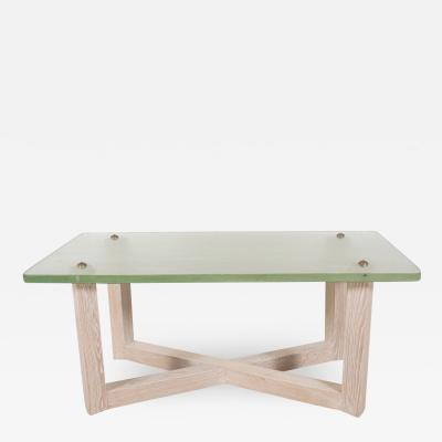 Cerused oak low table with Saint Gobain glass top
