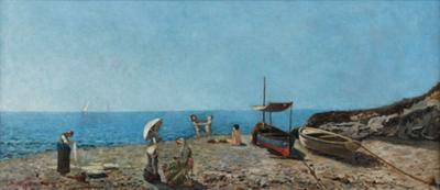Cesare Amadori Seascape 19th Italian Signed and Dated Cesare Amadori sea View of Genoa