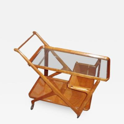 Cesare Lacca A Modernist Bar Cart in Walnut and Glass by Cesare Lacca