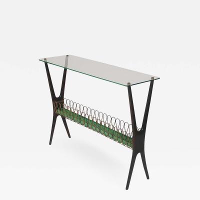 Cesare Lacca Cesare Lacca Midcentury Italian Modern Glass and Walnut Console Table