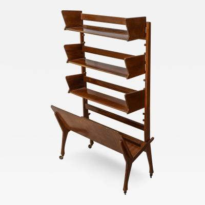Cesare Lacca Italian Modern Walnut Rolling Adjustable Book Shelf Cesare Lacca