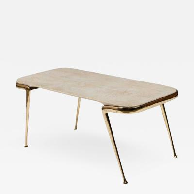 Cesare Lacca Marble and Sculptural Brass Coffee Table by Cesare Lacca