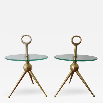 Cesare Lacca Pair of Bronze Gueridons by Cesare Lacca Italy 1950s