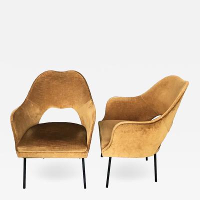 Cesare Lacca Pair of Sleek Italian 1950s Armchairs
