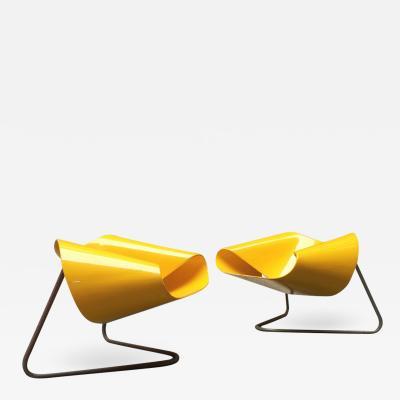 Cesare Leonardi Franca Stagi Yellow Nastro armchairs by Franca Stagi e Cesare Leonardi for Bernini 1960