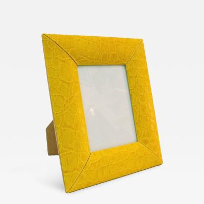 Cesare Paciotti 1990s Paciotti Italian Couture Yellow Embossed Leather Fashion Photo Frame