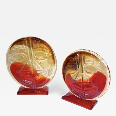 Cesare Toso Cesare Toso 1970s Pair of Abstract Art Red and Amber Murano Glass Round Faces