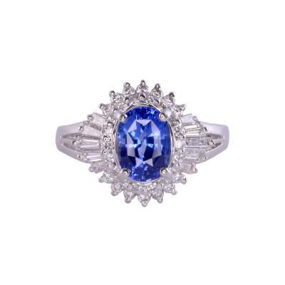 Ceylon Color Sapphire Diamond Platinum Ring