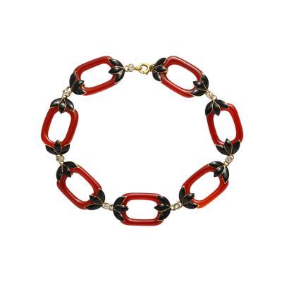 Chalcedony Enamel Diamond Link Bracelet