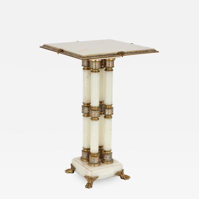 Champlev and cloisonn enamel mounted white onyx and gilt bronze table