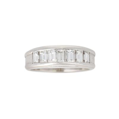 Channel Invisible Set Diamond Wedding Band Platinum and 18 Karat White Gold