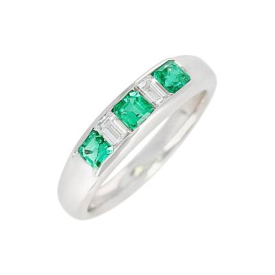 Channel Set Invisible Emerald and Diamond Platinum Bridal Ring
