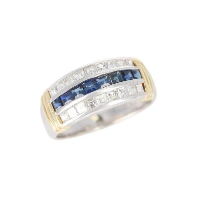 Channel Set Sapphire and Diamond Band with Two 18 Karat Gold Linings Platinum