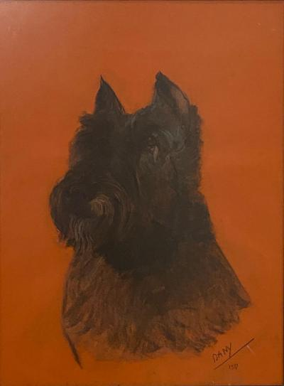 Charcoal Sketch of a Schnauzer Circa Early 20th Century