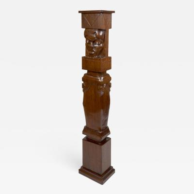 Charles Alphonse Combes Africanist Palmwood Pedestal by Charles Combes
