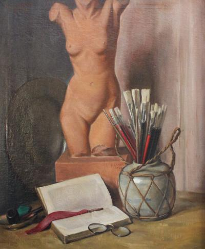 Charles Andrew Hafner Still Life Sculpture and Brushes