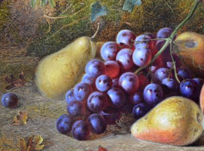 Charles Archer Grapes Pears 19th Century Victorian Oil Painting Still Life