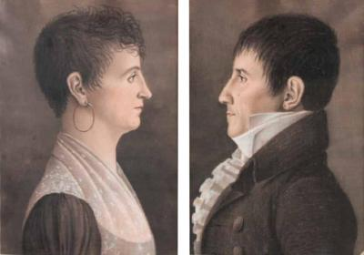 Charles Balthazar Julien Fevret de Saint Memin Pair of Pastel Profile Portraits