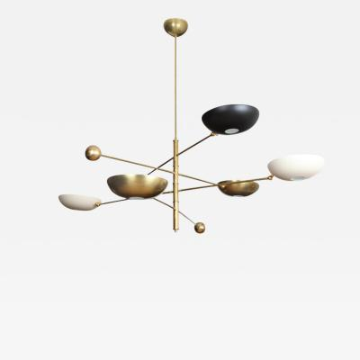 Charles Burnand Contrapesi Midcentury Style Brass and Powder Coated Cup Pendant