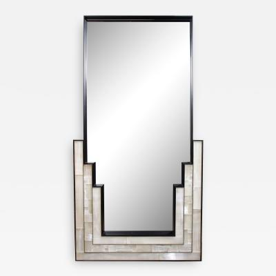 Charles Burnand Gypsum Inlaid with Nickel Detail Wall Mirror Designed by Drake Anderson