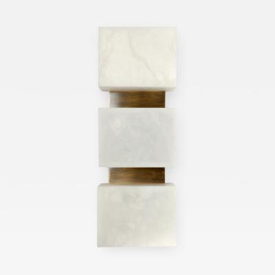 Charles Burnand Scatola Wall Sconce Alabaster Cubes Brushed Patinated Brass