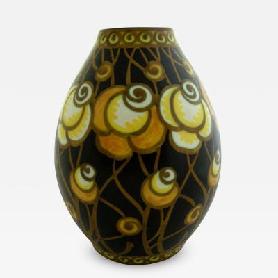 Charles Catteau Art Deco Floral Vase Designed by Charles Catteau for Boch Freres Keramis