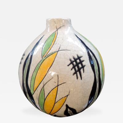 Charles Catteau Boch Ceramic Vase in Art Deco Pattern