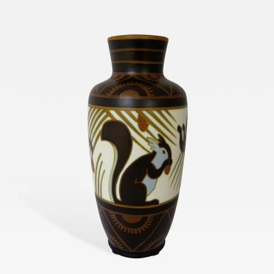 Charles Catteau Charles Catteau Squirrel Vase for Boch Freres Keramis 1930