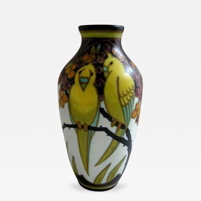 Charles Catteau Parakeet Vase Designed by Charles Catteau for Boch Freres Keramis 1932