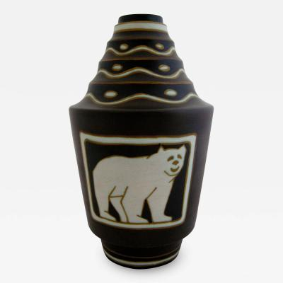 Charles Catteau Rare Polar Bear Vase Designed by Charles Catteau for Boch Freres Keramis
