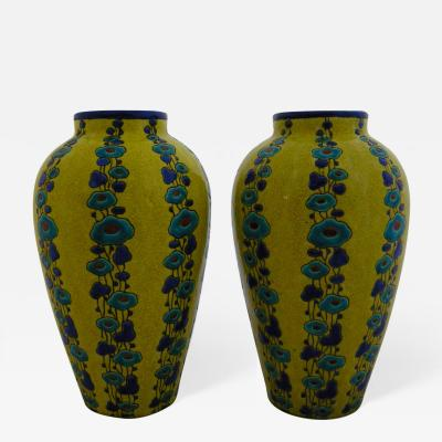 Charles Catteau Stunning Pair of Charles Catteau Vases for Boch Freres Keramis 1923