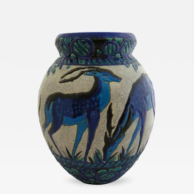 Charles Catteau The Blue Deer Vase by Charles Catteau for Boch Frers Keramis 1924