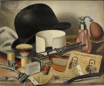 Charles Cerny Oil Painting Mens Grooming Still Life by Charles Cerny