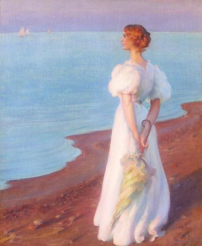 Charles Courtney Curran On the Shore of Lake Erie