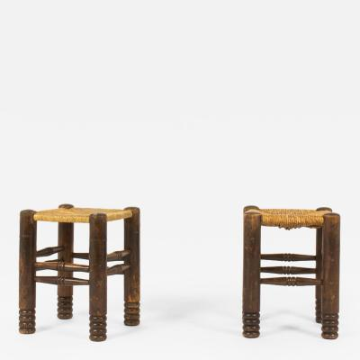 Charles Dudouyt Charles Dudouyt Stools in Oak and Straw c 1930s