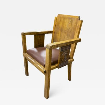 Charles Dudouyt Charles Dudouyt rarest oak carved captain chair